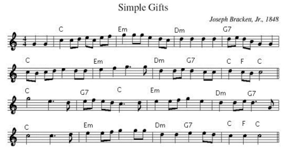 Simple Gifts music